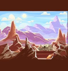Mountain landscape with archaeological fossils vector