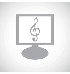 Music grey monitor icon vector