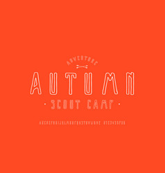 Narrow sans serif font in style handmade vector