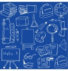 On blue backgrounds school doodles vector