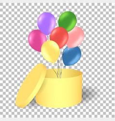 Open gold gift box with balloons vector