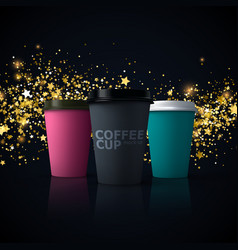 Paper coffee cups mockup vector