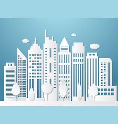 papercut city origami urban landscape white vector image