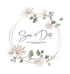 pastel floral wreath decoration on gold foil vector image