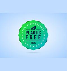 plastic free badge stamp label 100 percents vector image