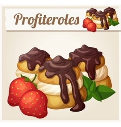 Profiteroles with chocolate and strawberry vector image