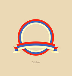 Ribbon and circle with flag of serbia vector