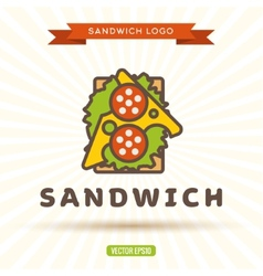 Sandwich with cheese sausage salad logo vector image