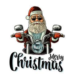 santa claus riding a motorcycle vintage vector image