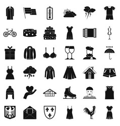 Season clothes icons set simple style vector