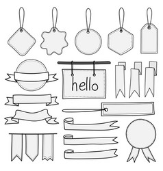 set of hand drawn banners labels tags and ribbons vector image