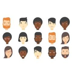 Set of human faces expressing negative emotions vector