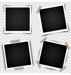 Set of retro photo frames with shadows vector