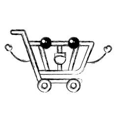 Shopping cart kawaii character vector