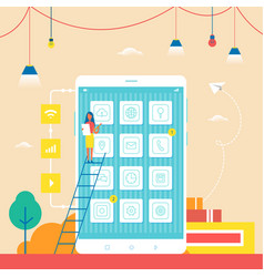 smartphone commercial with small woman on ladder vector image