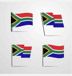 south africa waving flag set design vector image