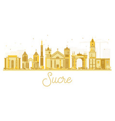 sucre bolivia city skyline silhouette with golden vector image