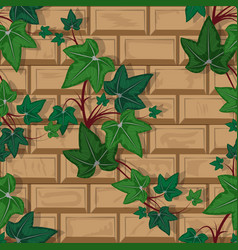 texture brick wall with climbing plant seamless vector image