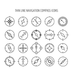 Thin line compass icons vector image