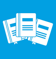 three books with bookmarks icon white vector image