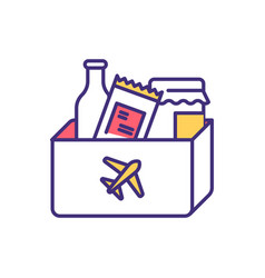 Transporting food plane rgb color icon vector