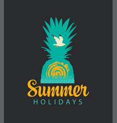 travel summer banner with pineapple sun and gull vector image