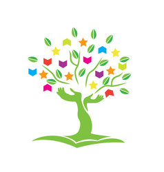 Tree with hands books and stars logo vector