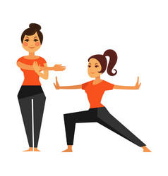 Two female people warming up before karate class vector