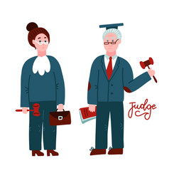 two judges woman and mancourt workers in judicial vector image