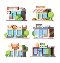 Urban stores colorful flat vector