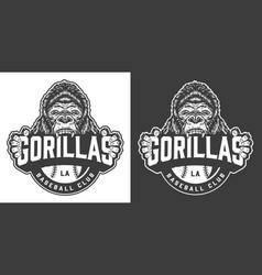 vintage gorillas baseball club logotype vector image