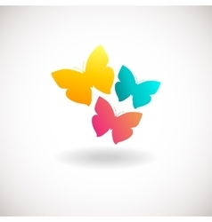 Vivid colors butterfly logo vector image