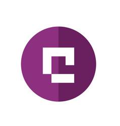 white alphabet c on purple color circle shape vector image