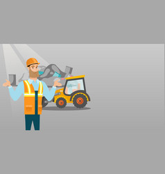 Worker and bulldozer at rubbish dump vector