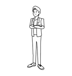 Young man in casual clothes with arms crossed vector