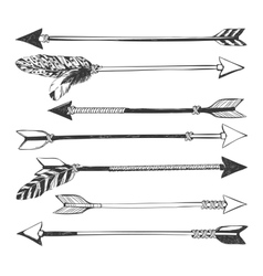 Arrow set in Native American Indian style vector image vector image