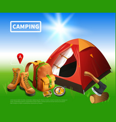 camping realistic flyer vector image