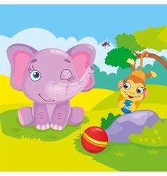 Cute Elephant And Monkey vector image
