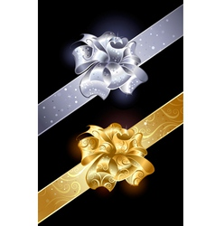 Gold and silver bow vector image vector image