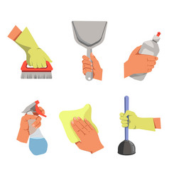 hands hold different tools for cleaning vector image vector image