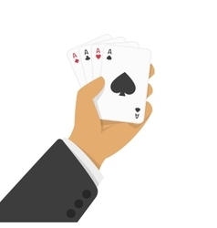 Playing cards in hand vector image vector image