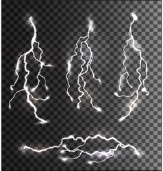 Set of different lightning bolts on a transparent vector image