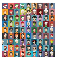 Set of people icons in flat style with faces 23 b vector image