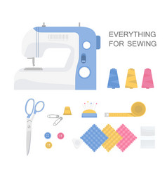 set of sewing tools vector image