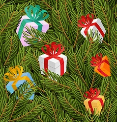 Spruce twigs and gifts seamless pattern Christmas vector image vector image