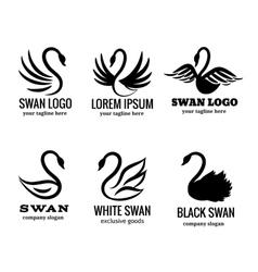 Swan logo set black logotypes vector image vector image