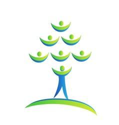 Tree people logo vector image vector image