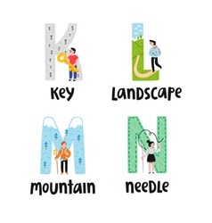 Alphabet letters k to n vector image