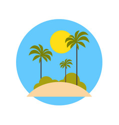 beach with palm trees icon summer vacation on vector image