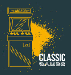 classic arcade game machine rendering vector image